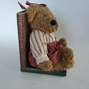 Vintage Plush Teddy Bear Wooden Book End